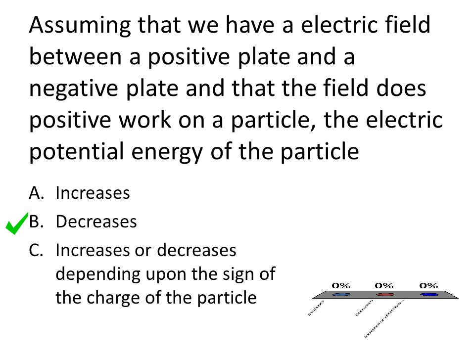 Assuming that we have a electric field between a positive plate and a negative plate and that the field does positive work on a particle, the electric potential energy of the particle A.Increases B.Decreases C.Increases or decreases depending upon the sign of the charge of the particle
