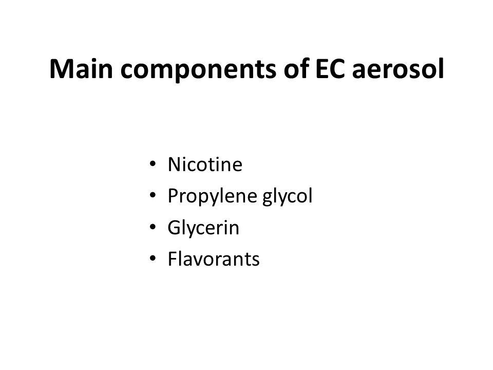 Main components of EC aerosol Nicotine Propylene glycol Glycerin Flavorants