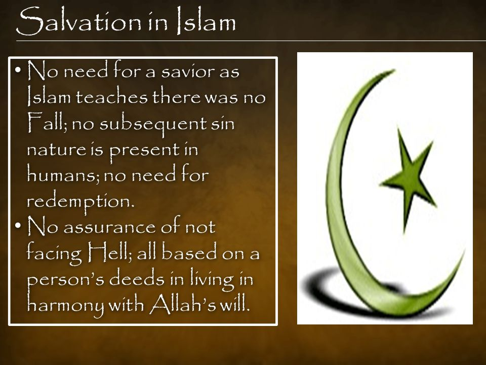Salvation in Islam No need for a savior as Islam teaches there was no Fall; no subsequent sin nature is present in humans; no need for redemption.