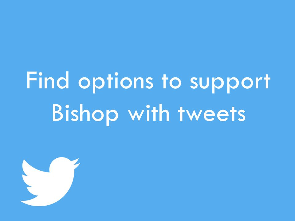 Find options to support Bishop with tweets