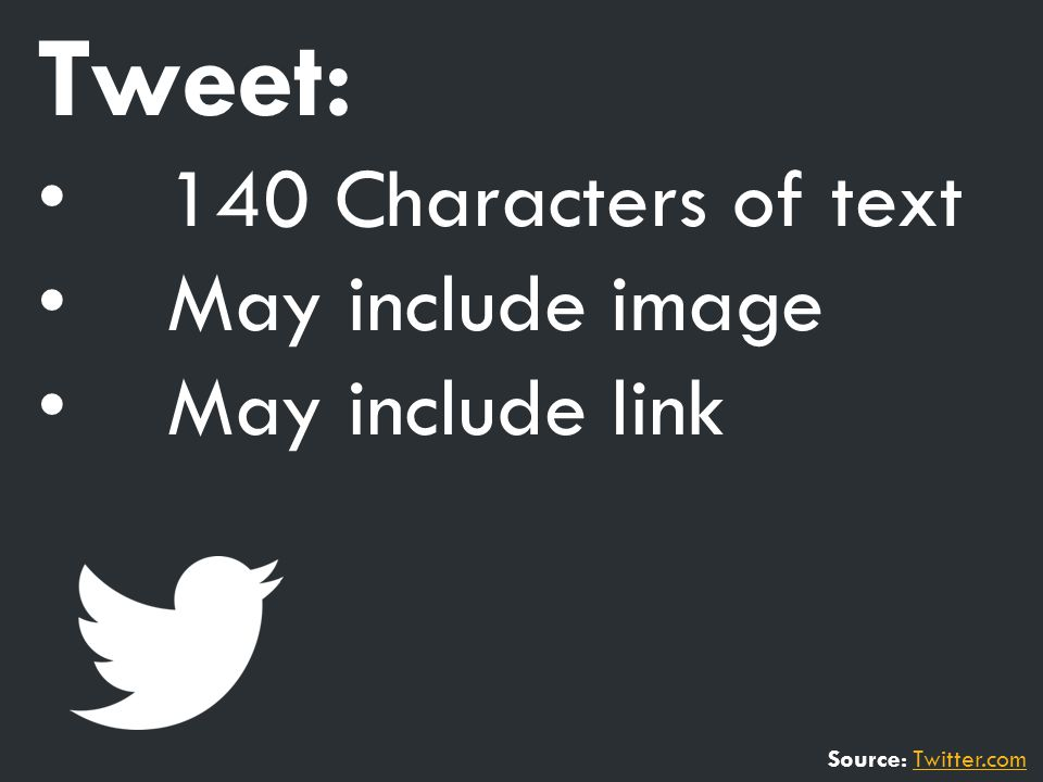 Tweet: 140 Characters of text May include image May include link Source: Twitter.comTwitter.com