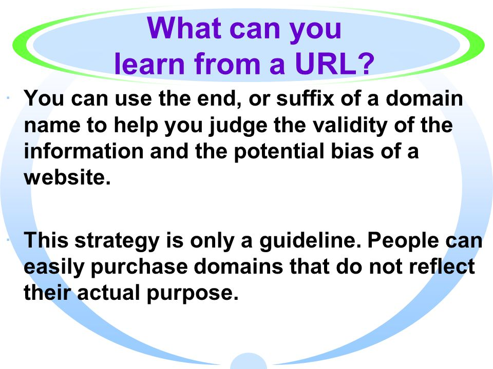 What can you learn from a URL.