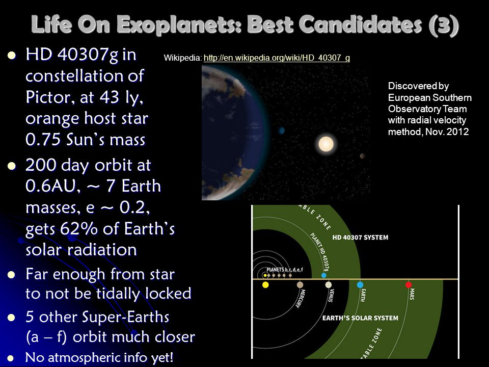Life On Exoplanets: Best Candidates (3) HD 40307g in constellation of Pictor, at 43 ly, orange host star 0.75 Sun's mass HD 40307g in constellation of Pictor, at 43 ly, orange host star 0.75 Sun's mass 200 day orbit at 0.6AU, ~ 7 Earth masses, e ~ 0.2, gets 62% of Earth's solar radiation 200 day orbit at 0.6AU, ~ 7 Earth masses, e ~ 0.2, gets 62% of Earth's solar radiation Far enough from star to not be tidally locked Far enough from star to not be tidally locked 5 other Super-Earths (a – f) orbit much closer 5 other Super-Earths (a – f) orbit much closer No atmospheric info yet.