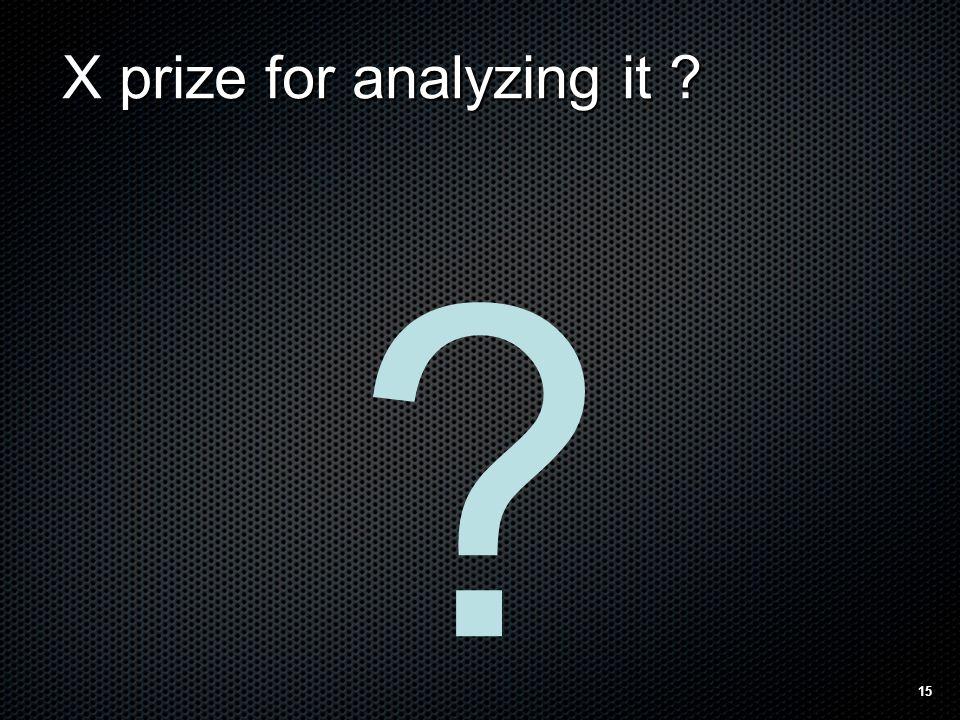 X prize for analyzing it ? ? 15