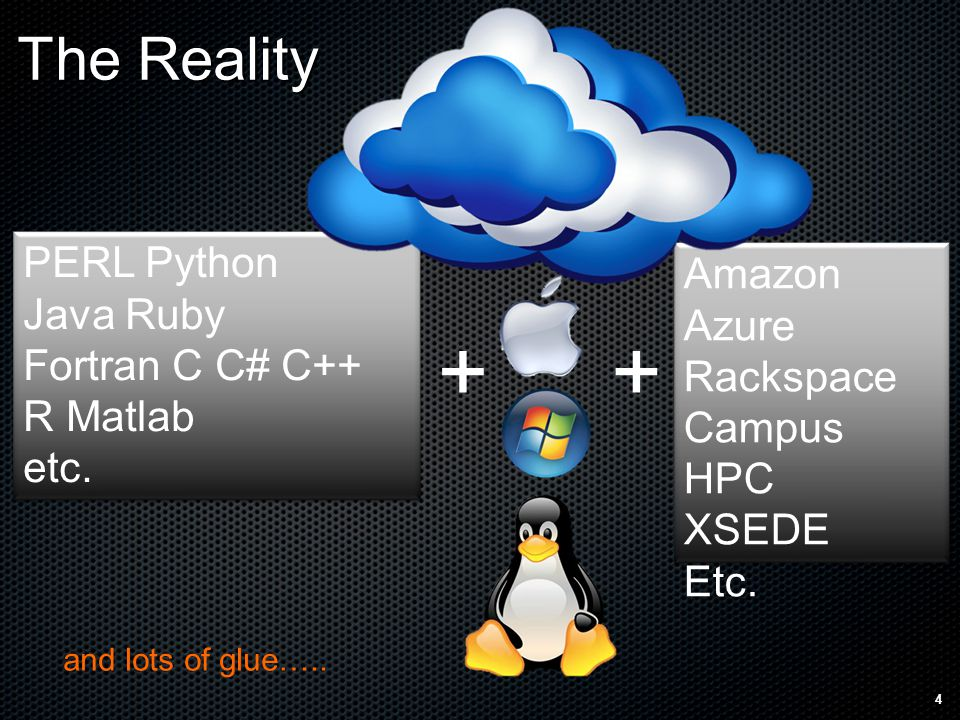 The Reality 4 ++ PERL Python Java Ruby Fortran C C# C++ R Matlab etc.