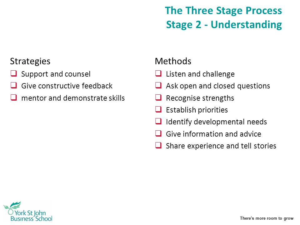 There's more room to grow The Three Stage Process Stage 2 - Understanding Strategies  Support and counsel  Give constructive feedback  mentor and d