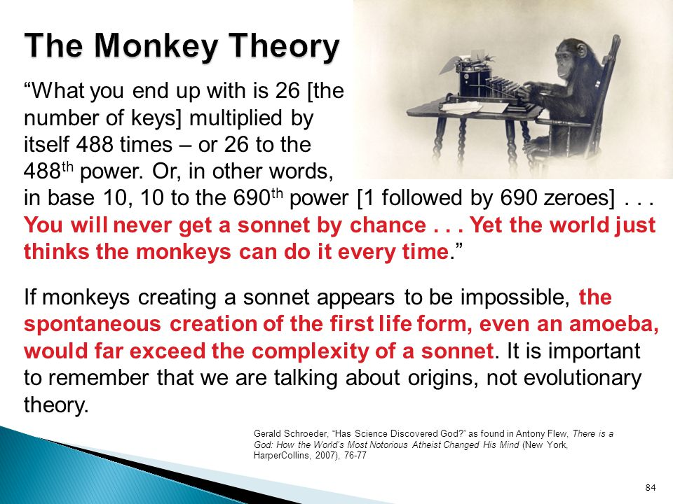 in base 10, 10 to the 690 th power [1 followed by 690 zeroes]... You will never get a sonnet by chance... Yet the world just thinks the monkeys can do