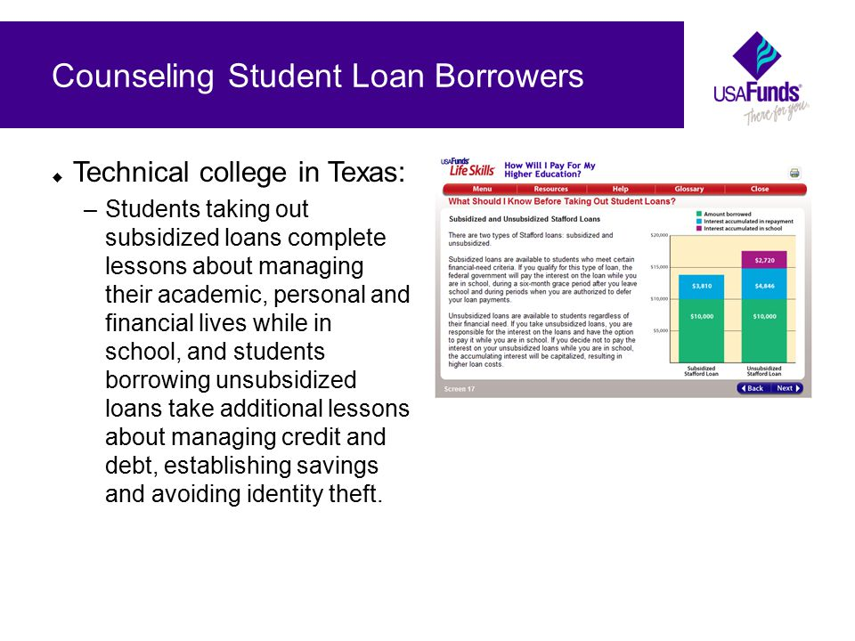  Technical college in Texas: –Students taking out subsidized loans complete lessons about managing their academic, personal and financial lives while in school, and students borrowing unsubsidized loans take additional lessons about managing credit and debt, establishing savings and avoiding identity theft.