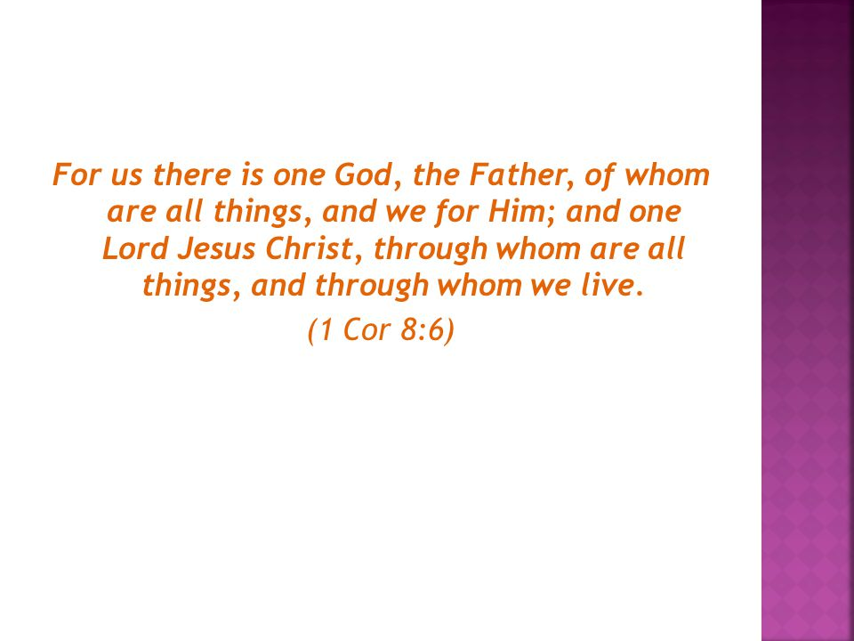 For us there is one God, the Father, of whom are all things, and we for Him; and one Lord Jesus Christ, through whom are all things, and through whom