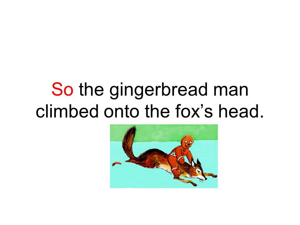 So the gingerbread man climbed onto the fox's head.