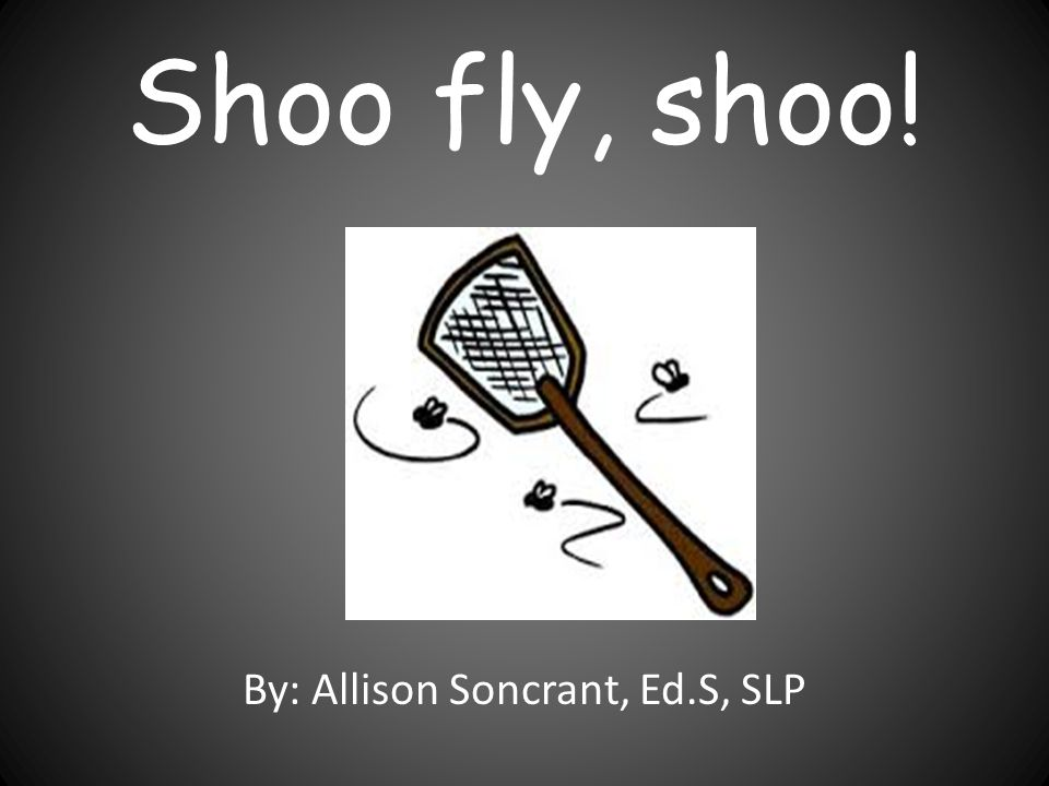 Shoo fly, shoo! By: Allison Soncrant, Ed.S, SLP