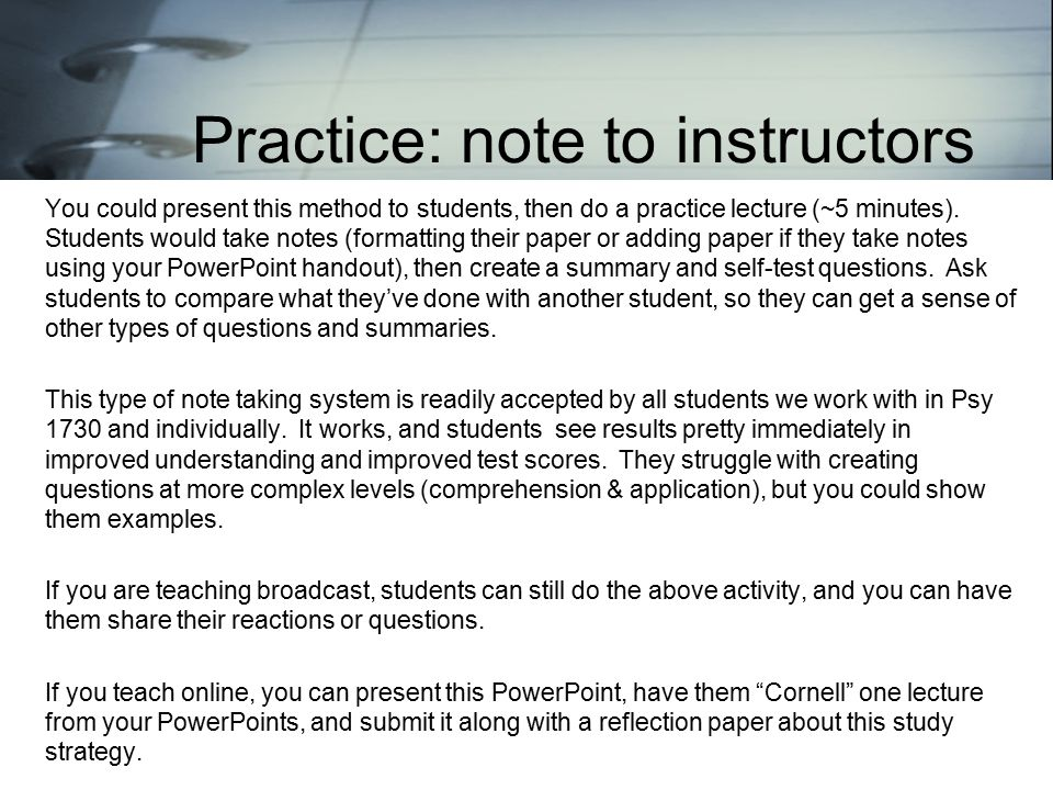 You could present this method to students, then do a practice lecture (~5 minutes).