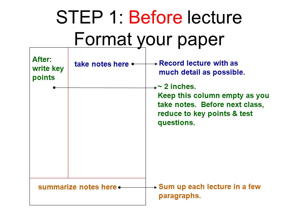 STEP 1: Before lecture Format your paper take notes here Record lecture with as much detail as possible.