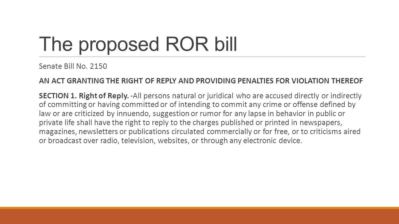 The proposed ROR bill Senate Bill No.