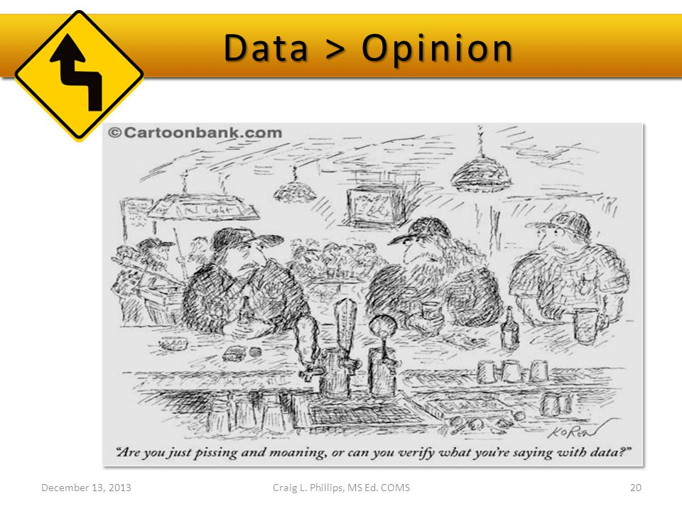 Data > Opinion Craig L. Phillips, MS Ed. COMS20December 13, 2013