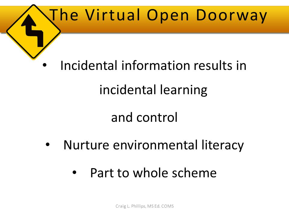 The Virtual Open Doorway Incidental information results in incidental learning and control Nurture environmental literacy Part to whole scheme Craig L