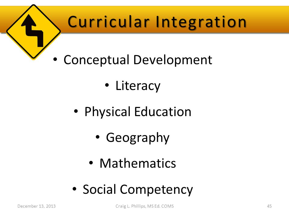 Curricular Integration Conceptual Development Literacy Physical Education Geography Mathematics Social Competency Craig L. Phillips, MS Ed. COMS45Dece