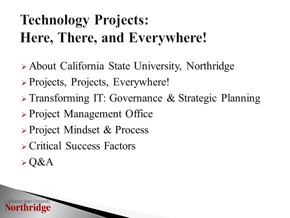  Process  No process to review and approve new projects  No process to prioritize technology projects  We don't know what we don't know!