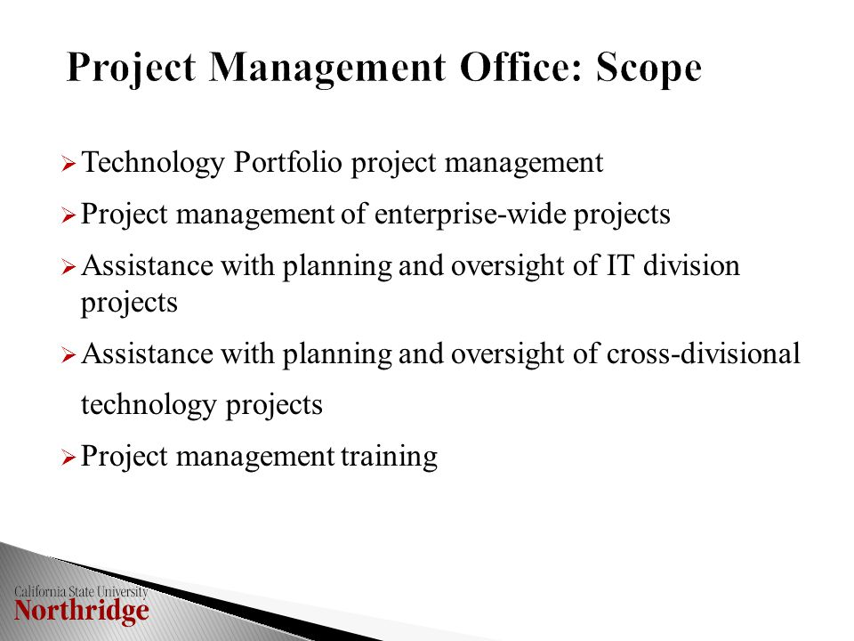  Technology Portfolio project management  Project management of enterprise-wide projects  Assistance with planning and oversight of IT division projects  Assistance with planning and oversight of cross-divisional technology projects  Project management training