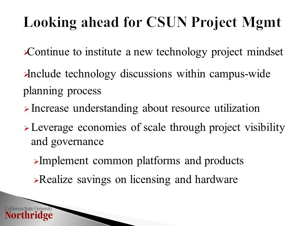  Increase understanding about resource utilization  Leverage economies of scale through project visibility and governance  Implement common platforms and products  Realize savings on licensing and hardware  Continue to institute a new technology project mindset  Include technology discussions within campus-wide planning process