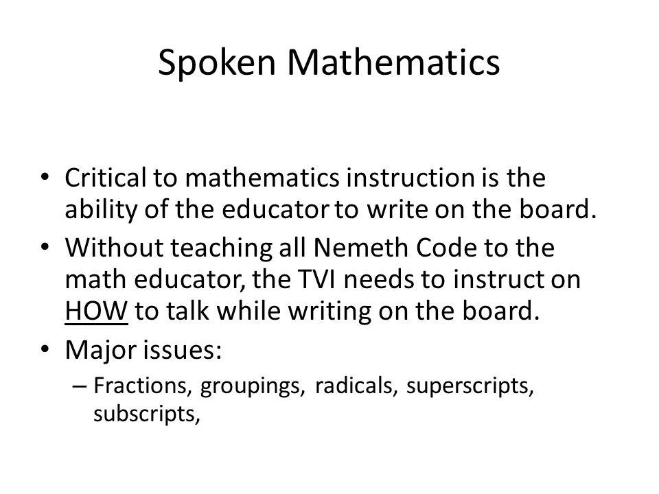Spoken Mathematics Handout