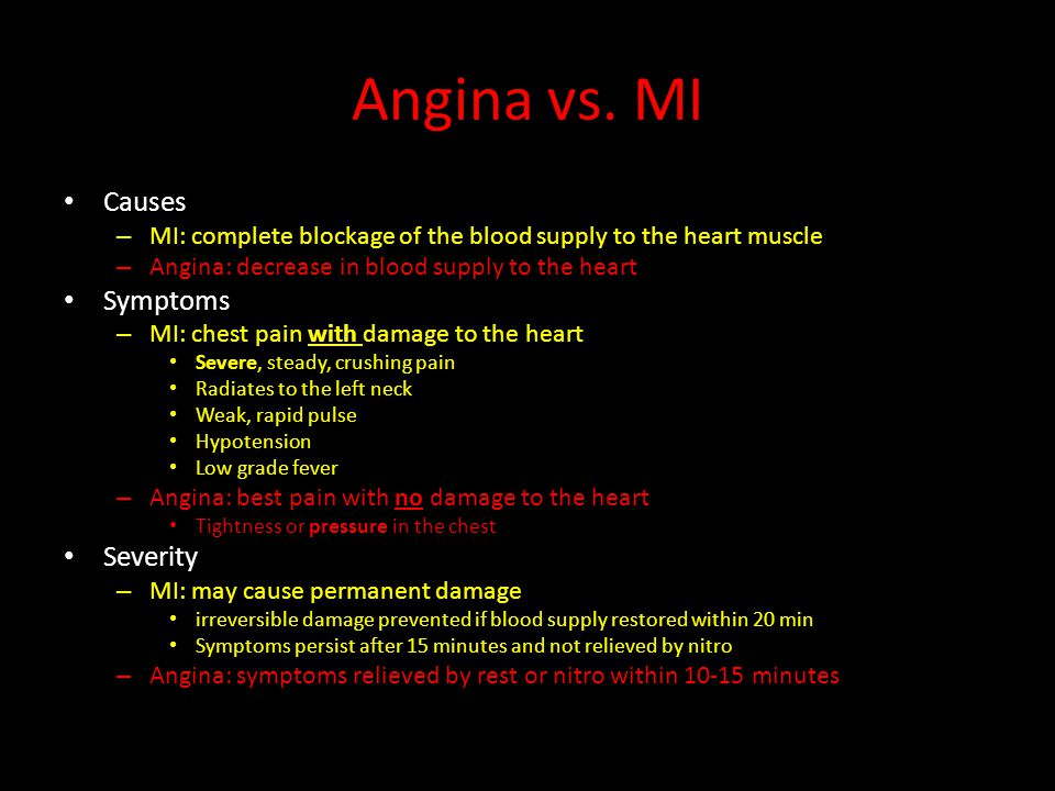 Angina vs. MI Causes – MI: complete blockage of the blood supply to the heart muscle – Angina: decrease in blood supply to the heart Symptoms – MI: ch