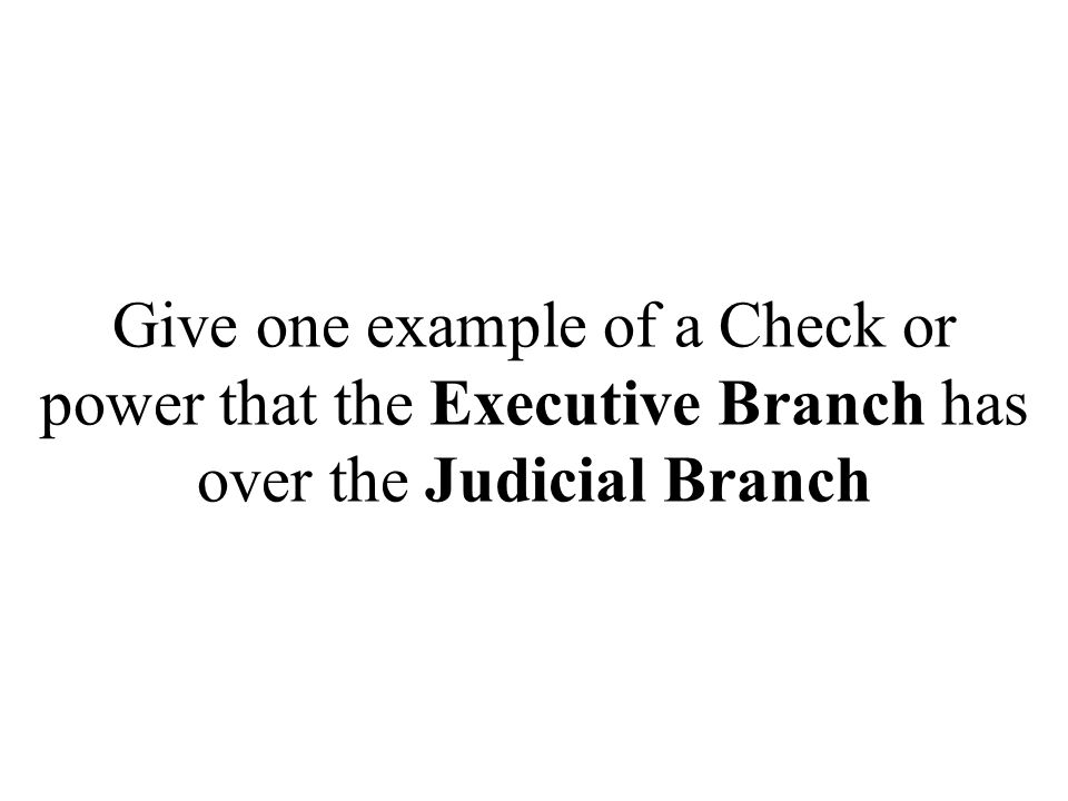 Give one example of a Check or power that the Executive Branch has over the Judicial Branch
