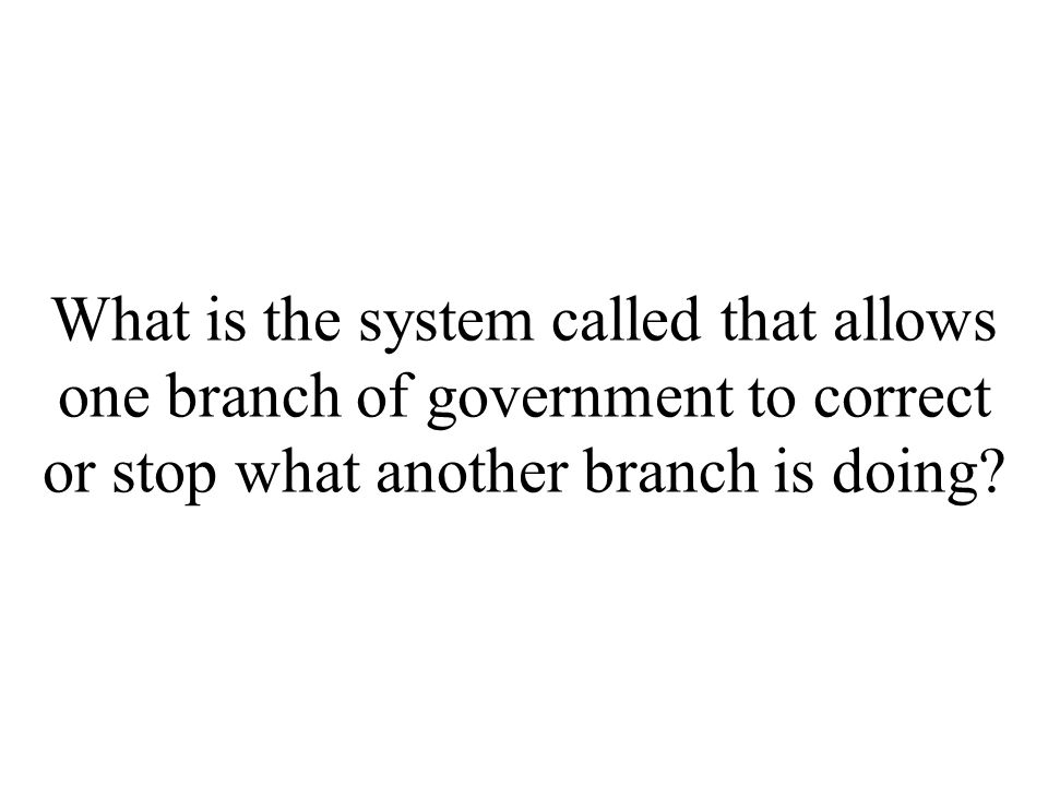 What is the system called that allows one branch of government to correct or stop what another branch is doing