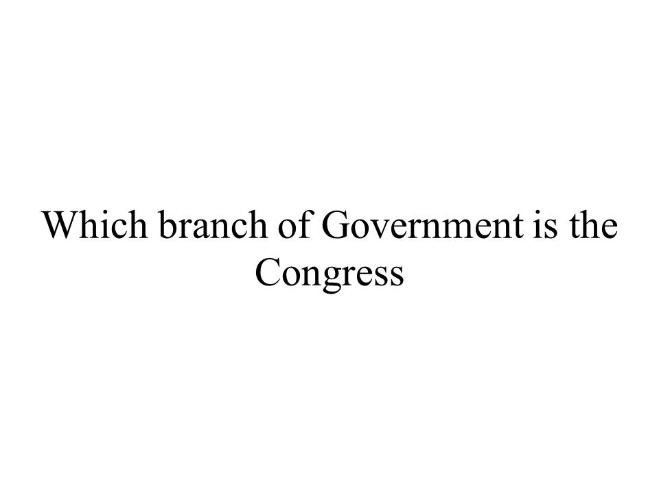 Which branch of Government is the Congress