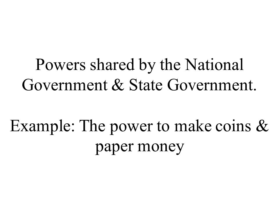 Powers shared by the National Government & State Government.