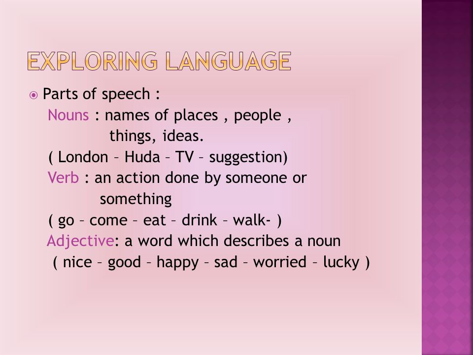  Parts of speech : Nouns : names of places, people, things, ideas.