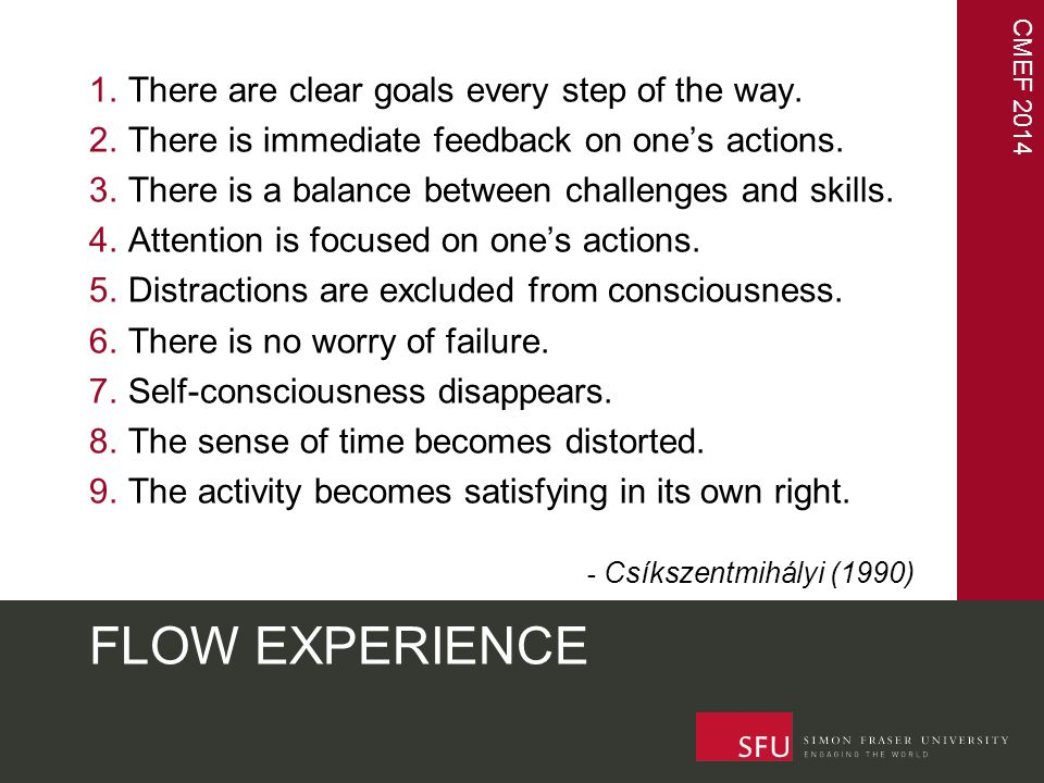 CMEF 2014 FLOW EXPERIENCE - internal 1.There are clear goals every step of the way.