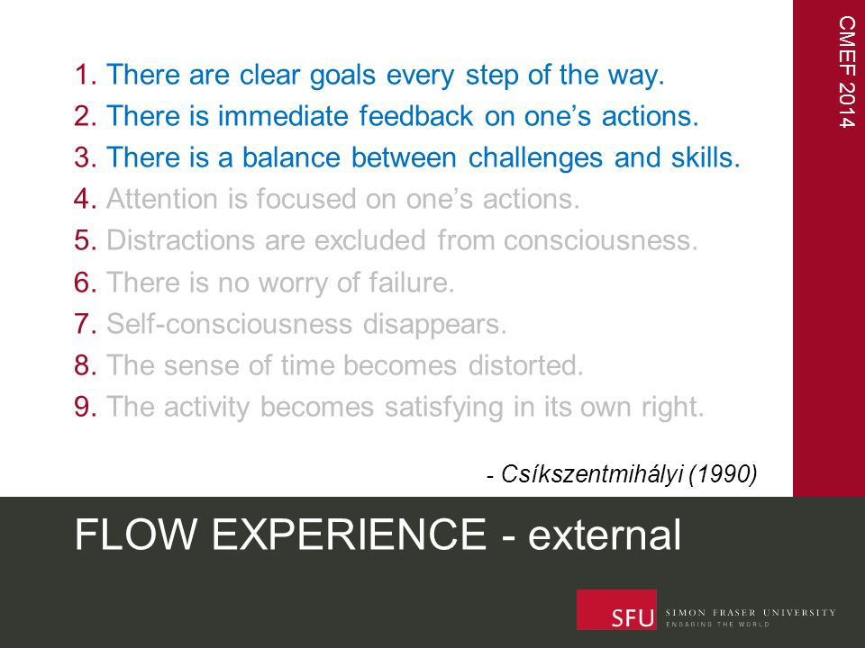 CMEF 2014 FLOW EXPERIENCE - external 1.There are clear goals every step of the way.