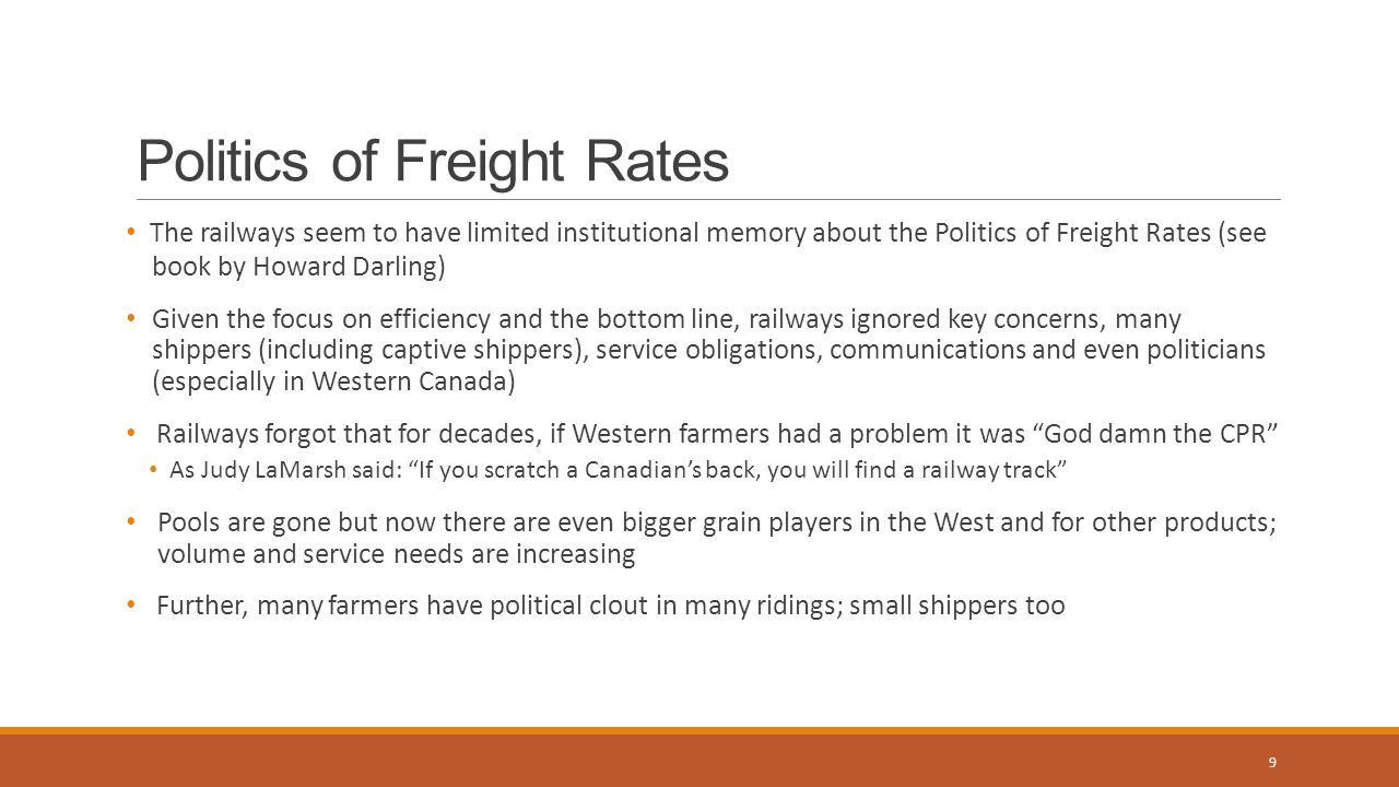 Railway Obligations With more regulatory freedoms, there are more obligations but railways need to decide how to meet them Railways are common carriers and have to meet traffic service offered; that's how they make money For all and captive and small shippers Service with joint shared obligations and penalties Safety too Trade off between efficiency and profitability versus service needs for all 10