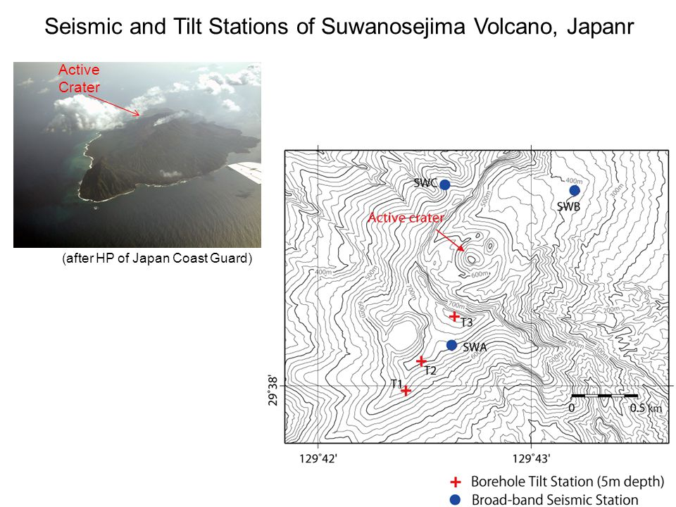 (after HP of Japan Coast Guard) 4 km and 8 km wide in EW and NS directions. 799m height Active Crater Seismic and Tilt Stations of Suwanosejima Volcan