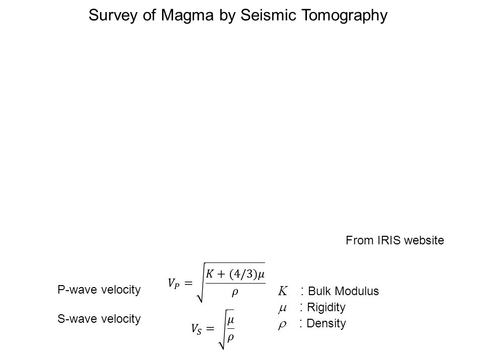 P-wave velocity S-wave velocity Survey of Magma by Seismic Tomography From IRIS website K : Bulk Modulus  : Rigidity  : Density