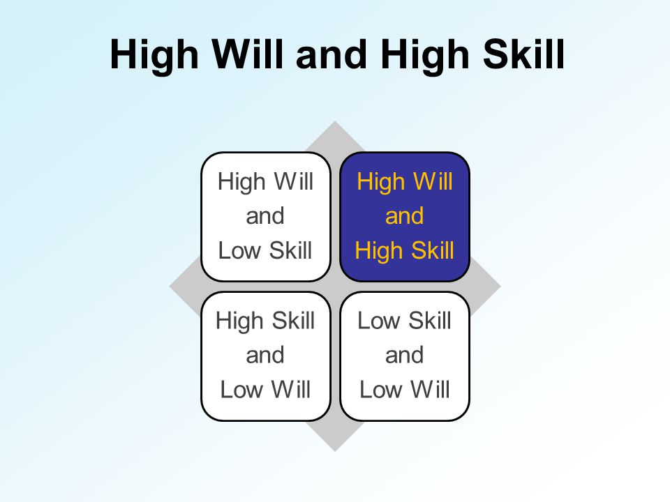 High Will and High Skill High Will and Low Skill High Will and High Skill and Low Will Low Skill and Low Will