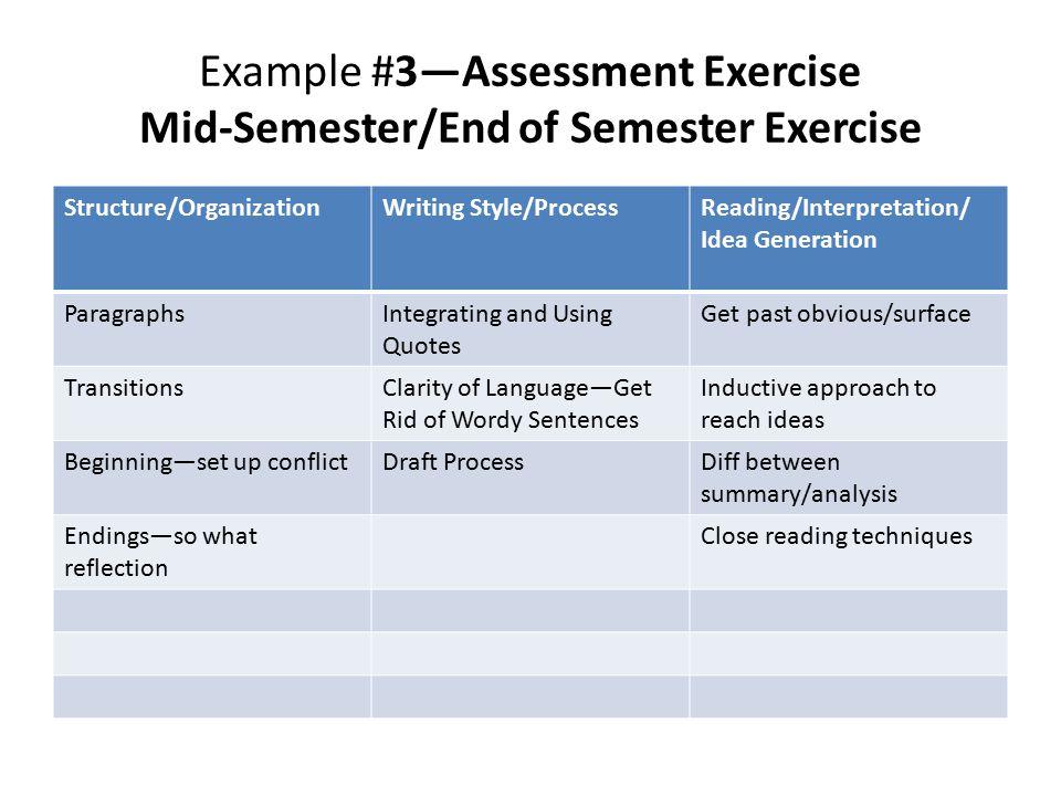 Example #3—Assessment Exercise Mid-Semester/End of Semester Exercise Structure/OrganizationWriting Style/ProcessReading/Interpretation/ Idea Generatio