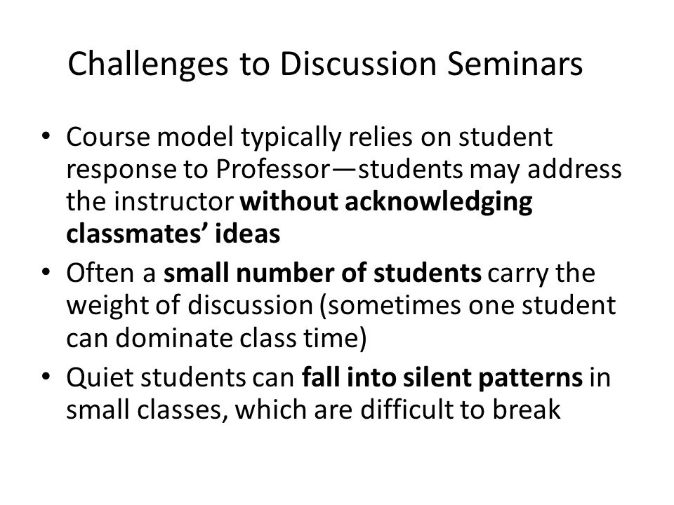 Collective Class/Assignment Model Goal: To get all students engaged and participating in class Use a Problem solving approach in addition to open discussion Require input from all students—exercises offer opportunities to respond to others