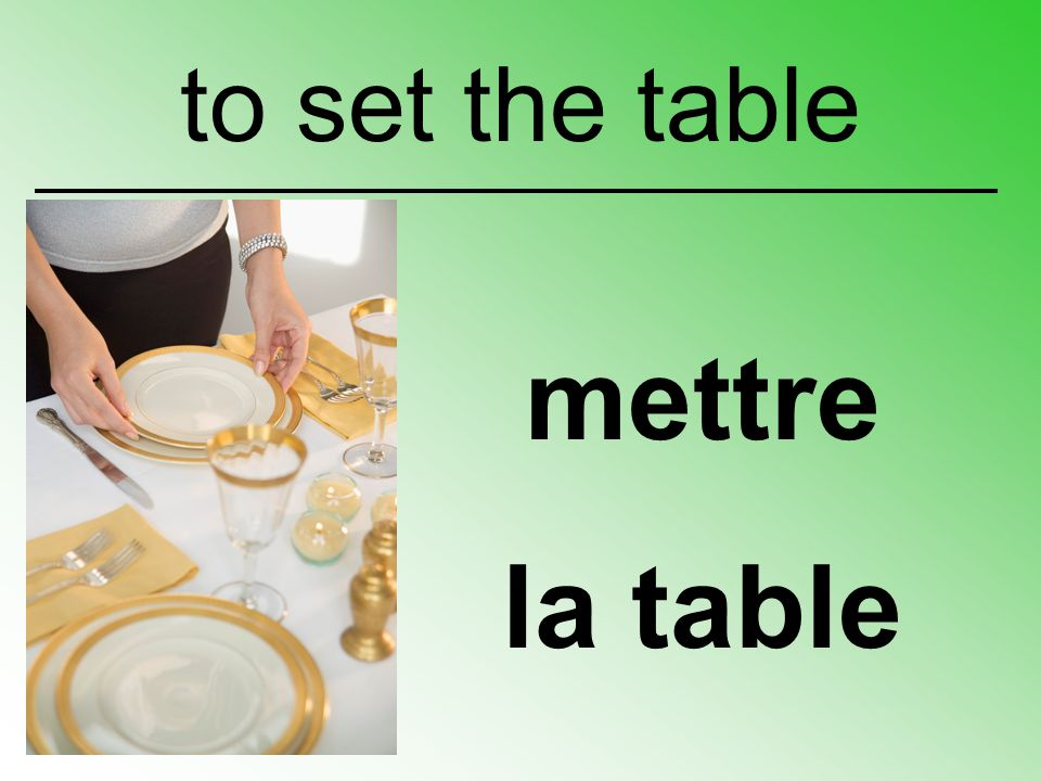 mettre la table to set the table