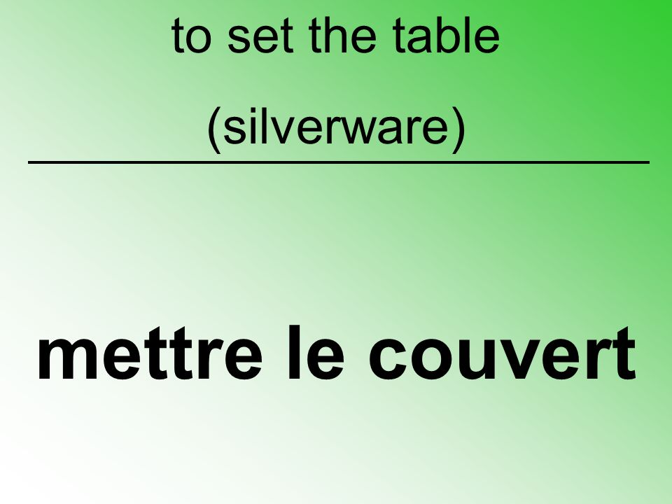 mettre le couvert to set the table (silverware)