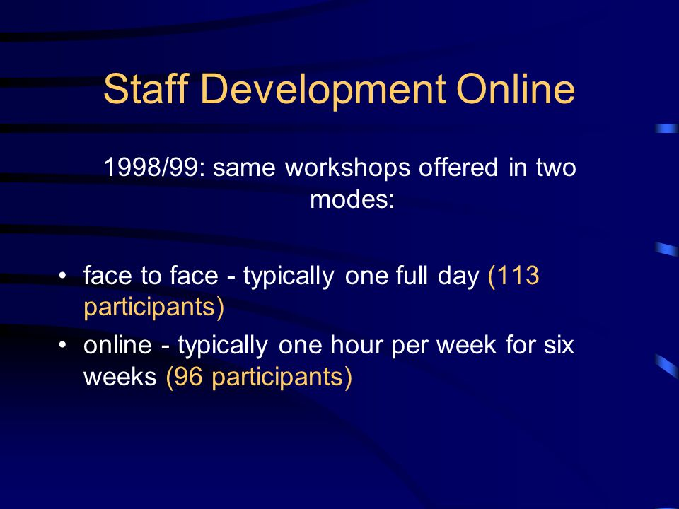 Staff Development Online 1998/99: same workshops offered in two modes: face to face - typically one full day (113 participants) online - typically one