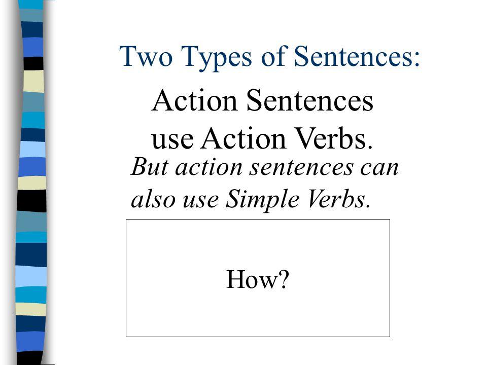 Description sentences use simple verbs. The car is blue.