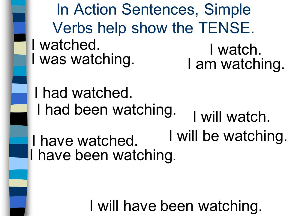 In Action Sentences, Simple Verbs help show the TENSE.