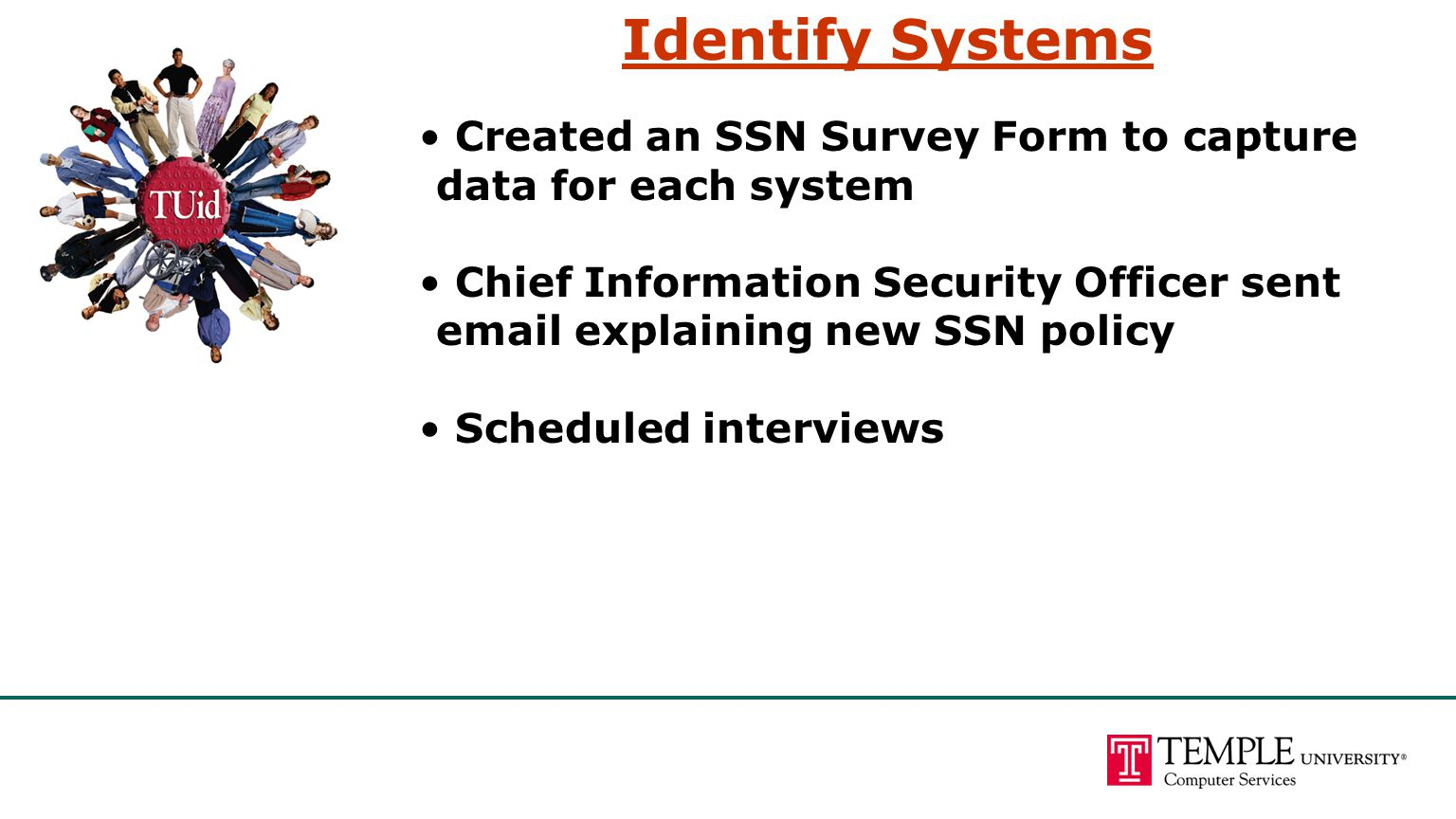 Identify Systems Created an SSN Survey Form to capture data for each system Chief Information Security Officer sent email explaining new SSN policy Scheduled interviews