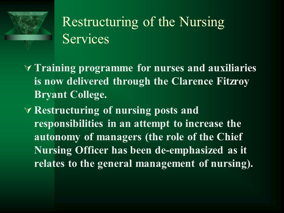 Restructuring of the Nursing Services  Training programme for nurses and auxiliaries is now delivered through the Clarence Fitzroy Bryant College. 
