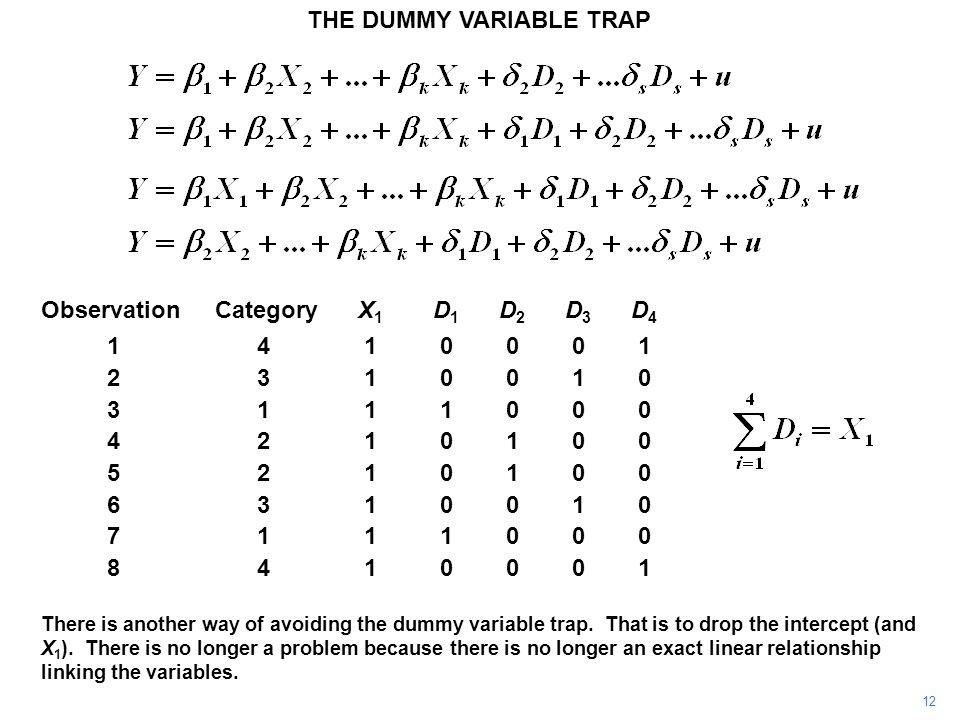 THE DUMMY VARIABLE TRAP 12 There is another way of avoiding the dummy variable trap. That is to drop the intercept (and X 1 ). There is no longer a pr