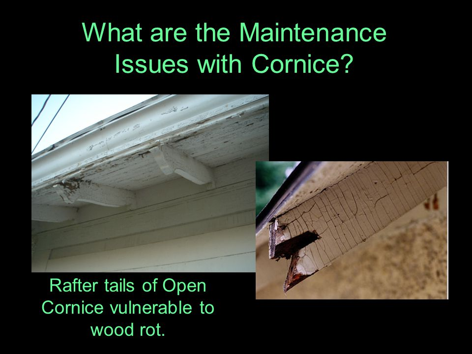 What are the Maintenance Issues with Cornice? Rafter tails of Open Cornice vulnerable to wood rot.
