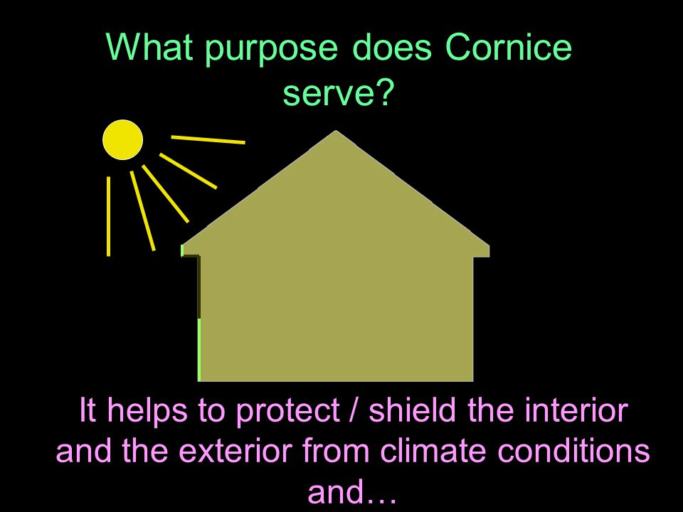 What purpose does Cornice serve.