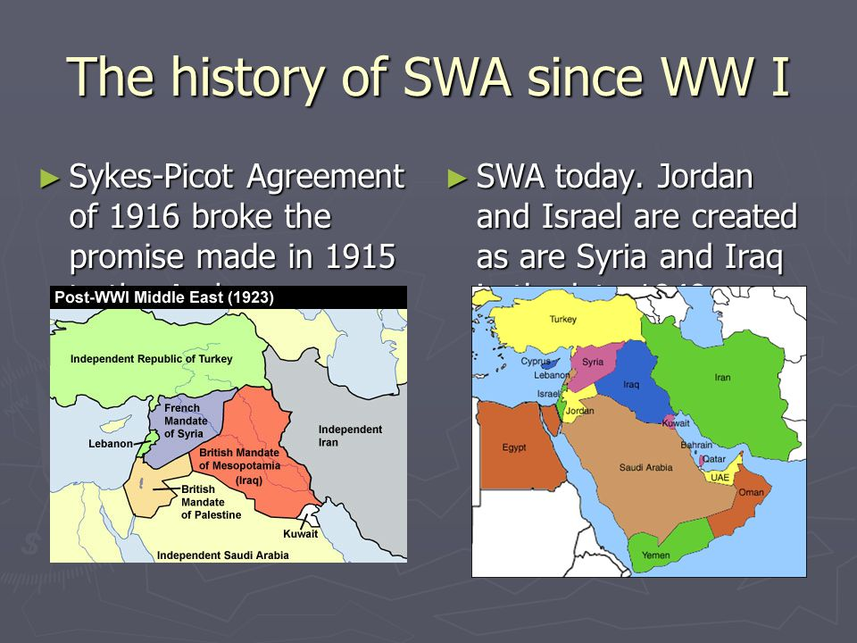 The history of SWA since WW I ► Sykes-Picot Agreement of 1916 broke the promise made in 1915 to the Arabs ► SWA today. Jordan and Israel are created a